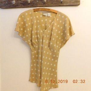 Newport News Silk Polka Dot Blouse
